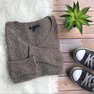 American Eagle Brown Oversized V-Neck Sweater XS